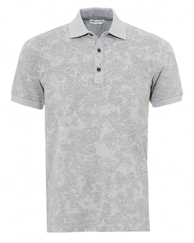 Etro Mens Jacquard Paisley Polo Shirt, Short Sleeved Grey Polo