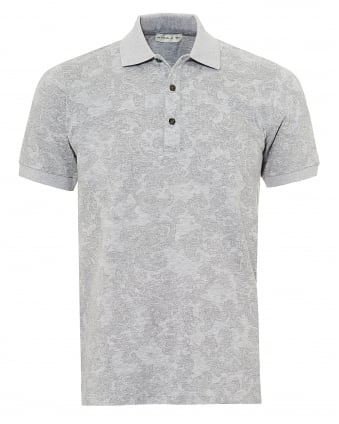 Mens Jacquard Paisley Polo Shirt, Short Sleeved Grey Polo