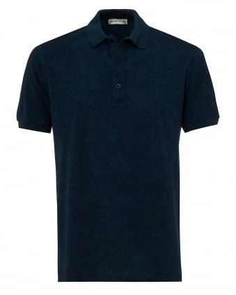 Mens Jacquard Paisley Polo Shirt, Short Sleeved Navy Blue Polo