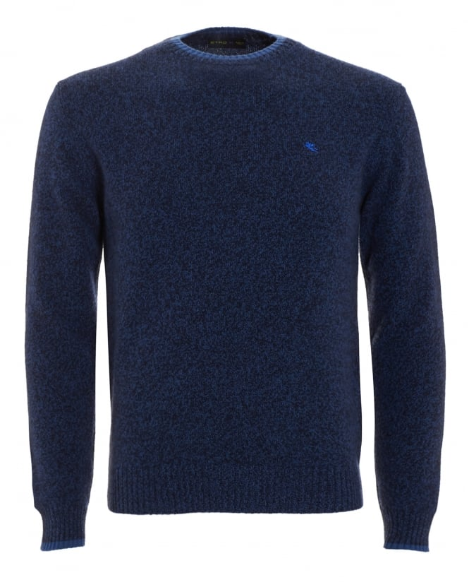 Etro Mens Jumper, Navy Blue Logo Sweater
