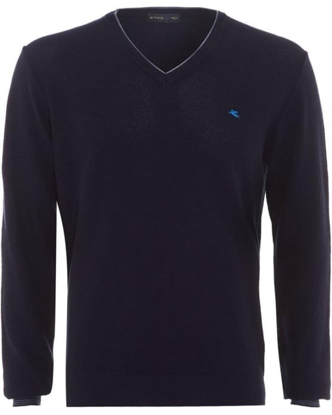 Etro Mens Jumper Piped V-neck Cashmere Navy Blue Knit