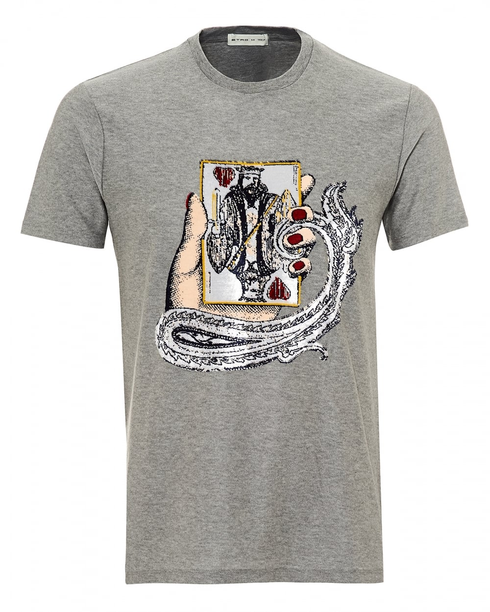 6b20dbe10 Etro Mens King of Hearts Chenille Graphic T-Shirt, Reg Fit Grey Tee