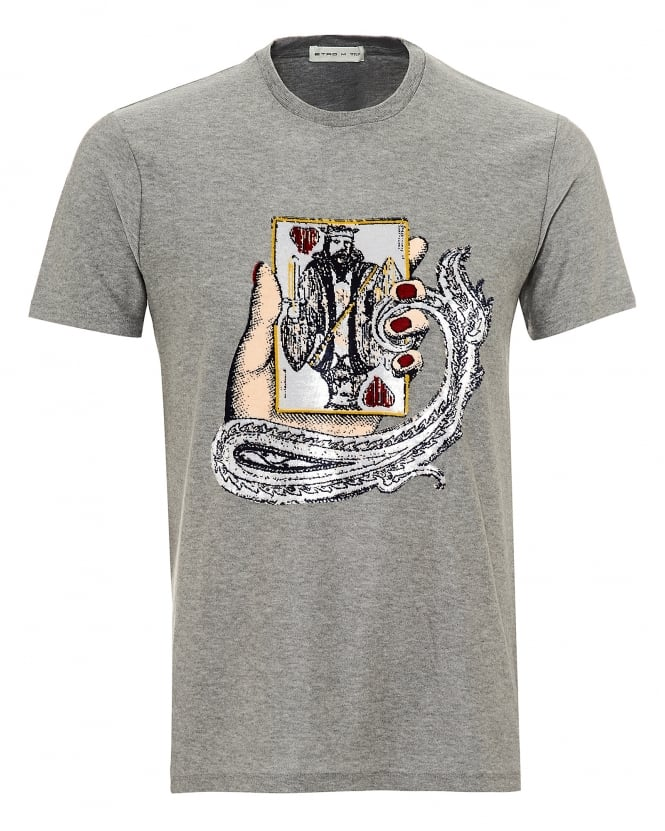 Etro Mens King of Hearts Chenille Graphic T-Shirt, Regular Fit Grey Tee