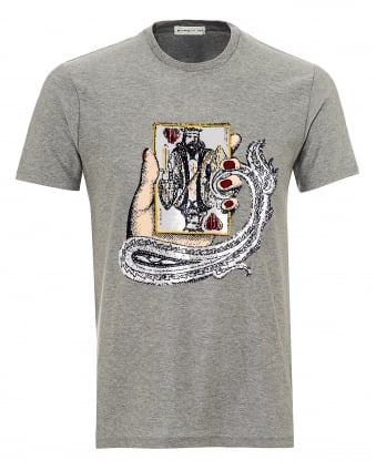 Mens King of Hearts Chenille Graphic T-Shirt, Regular Fit Grey Tee