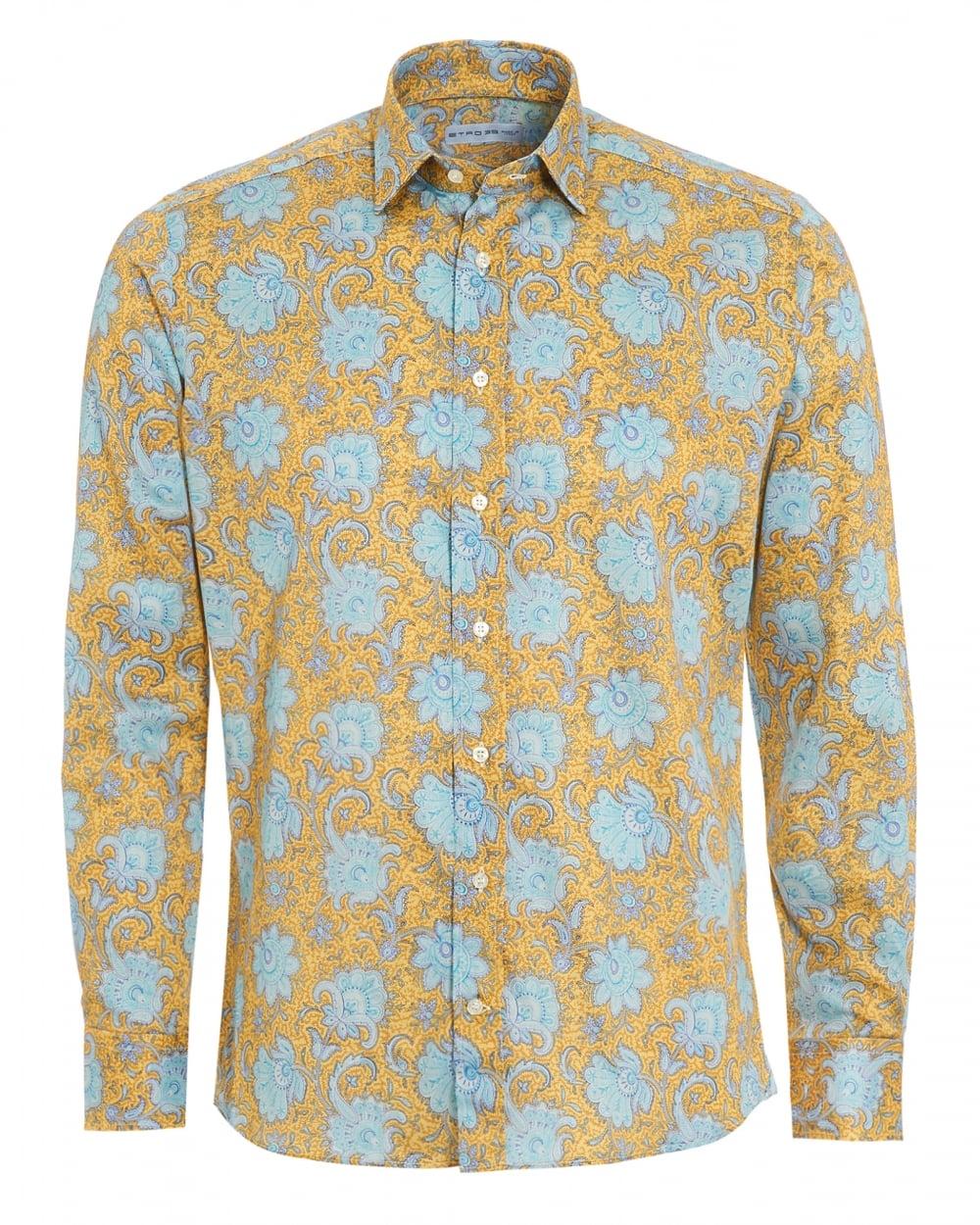 Etro mens large floral print shirt regular fit yellow shirt for Flower print mens shirt