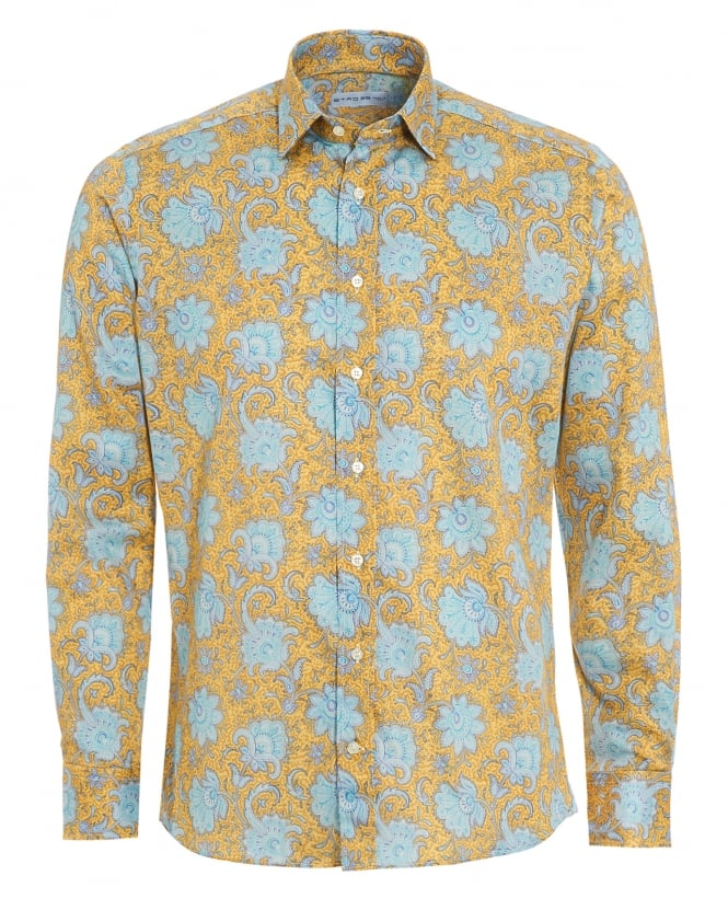 Etro Mens Large Floral Print Shirt, Regular Fit Yellow Shirt