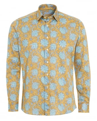 Mens Large Floral Print Shirt, Regular Fit Yellow Shirt
