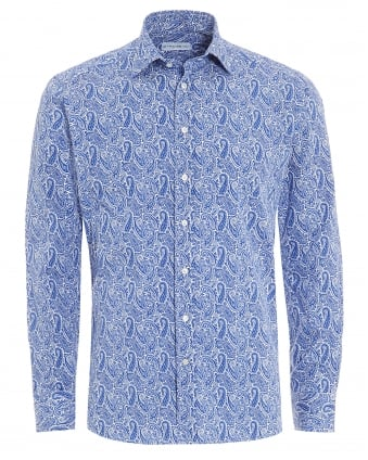 Mens Large Paisley Shirt, Regular Fit White Blue Shirt