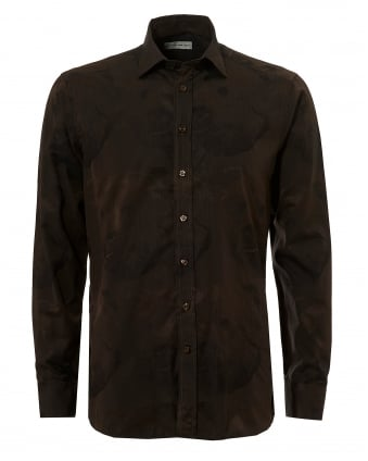 Mens Large Repeat Bear Regular Fit Brown Shirt