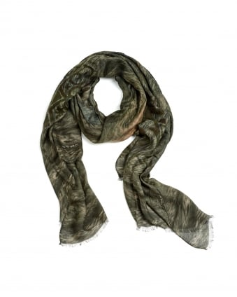 Mens Large Wolf Print Military Scarf