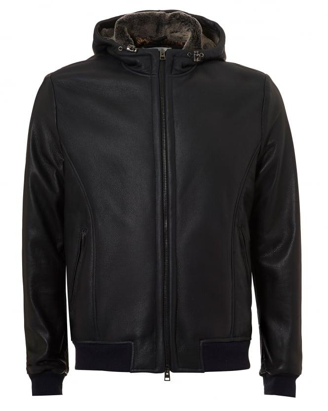 Etro Mens Leather Blouson, Bear Print Lining Charcoal Jacket