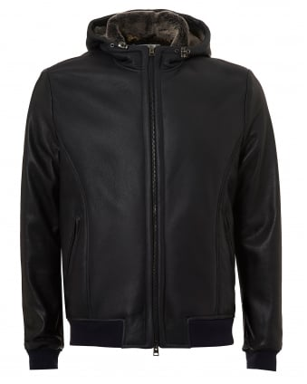 Mens Leather Blouson, Bear Print Lining Charcoal Jacket