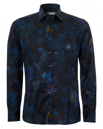 Mens Loose Floral Print Regular Fit Navy Shirt