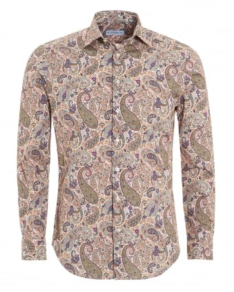 Mens Macro Paisley Shirt, Regular Fit Beige Shirt