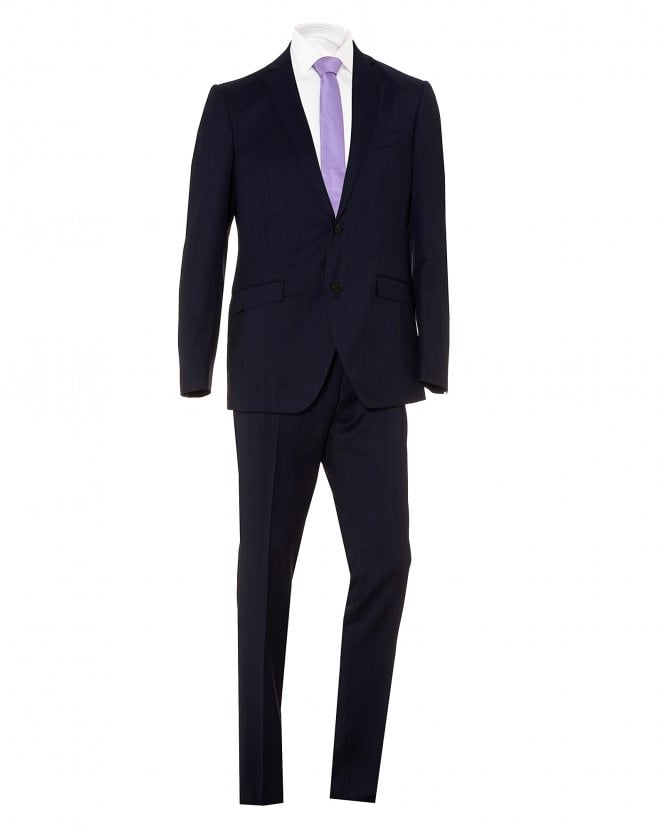 Etro Mens Medium Striped Wool Dark Navy Blue Regular Fit Suit