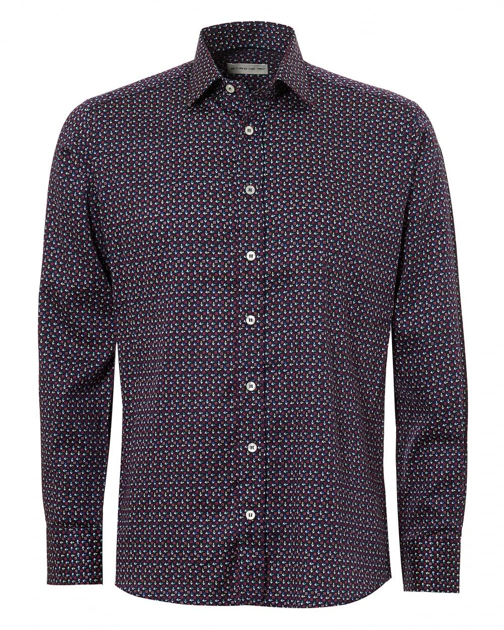 Etro Mens Micro Floral Print Regular Fit Navy Multi Shirt