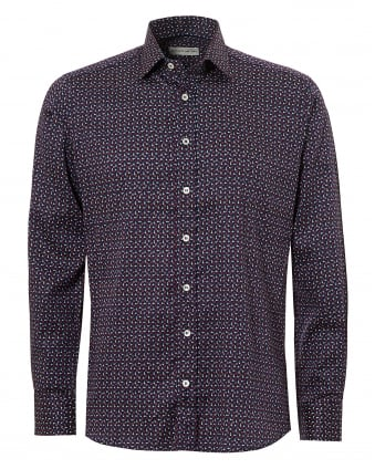 Mens Micro Floral Print Regular Fit Navy Multi Shirt