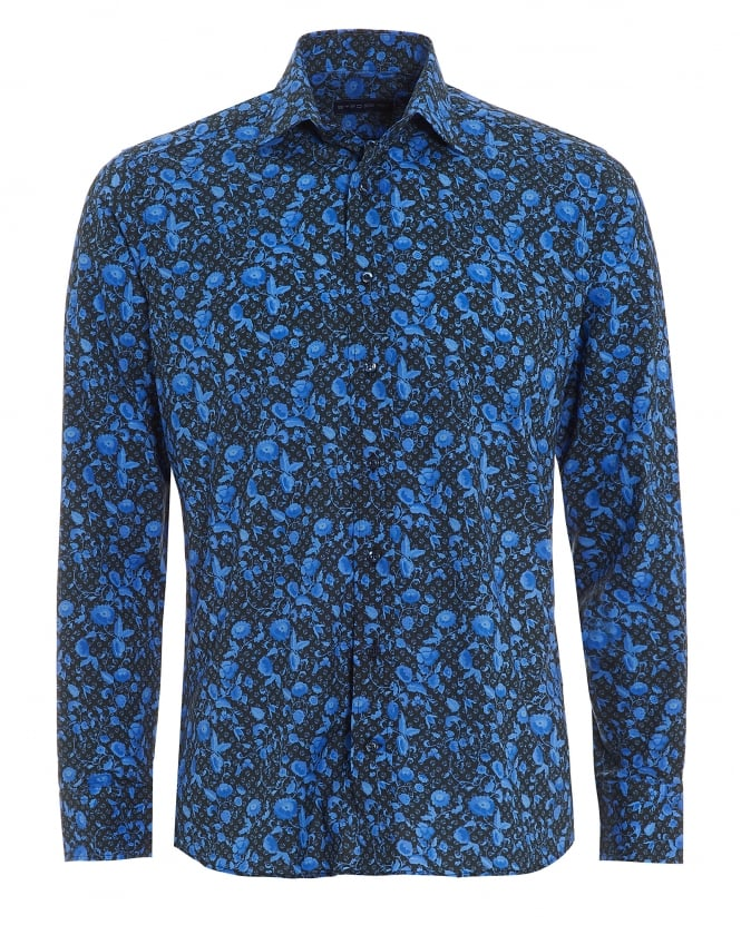 Etro Mens Micro Leaves Floral Shirt, Regular Fit Blue Black Shirt