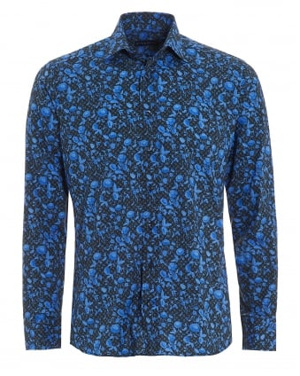Mens Micro Leaves Floral Shirt, Regular Fit Blue Black Shirt