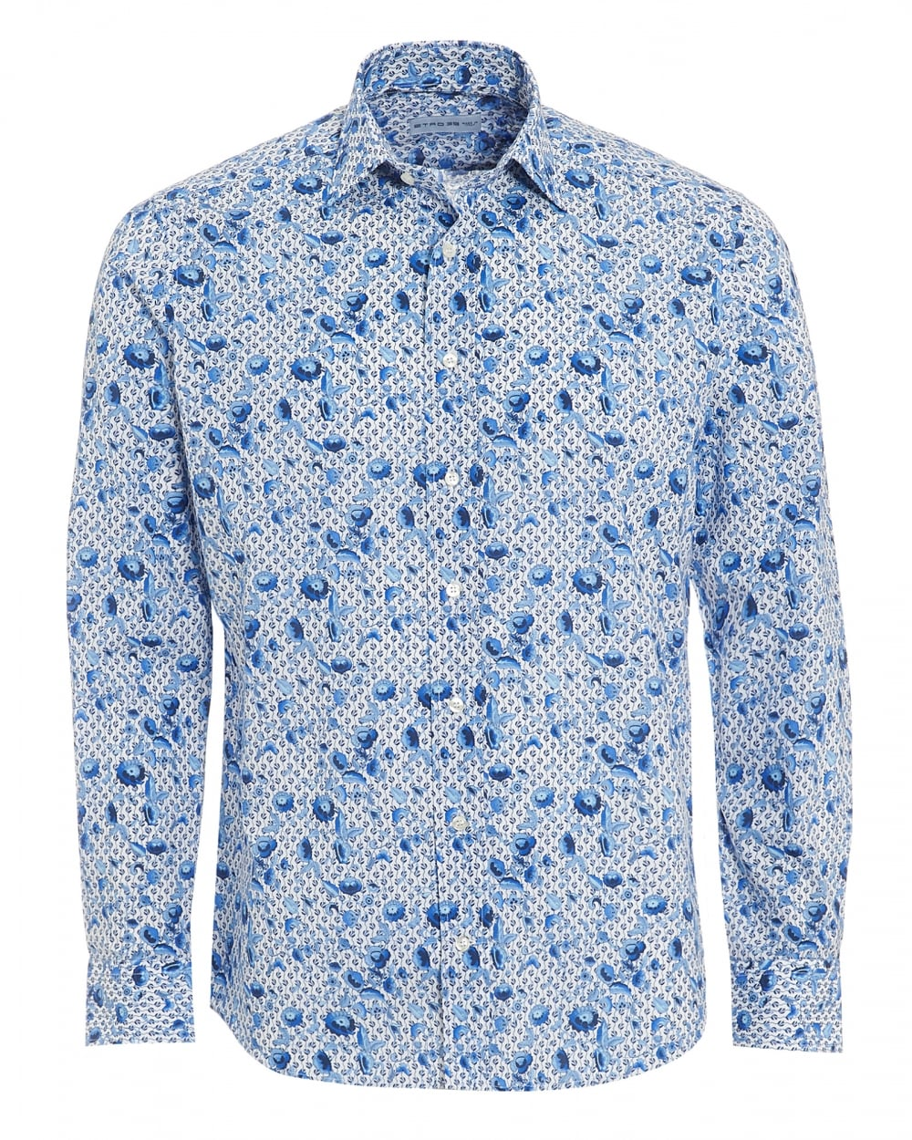 Etro Mens Micro Leaves Floral Shirt, Regular Fit White Blue Shirt