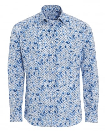 Mens Micro Leaves Floral Shirt, Regular Fit White Blue Shirt