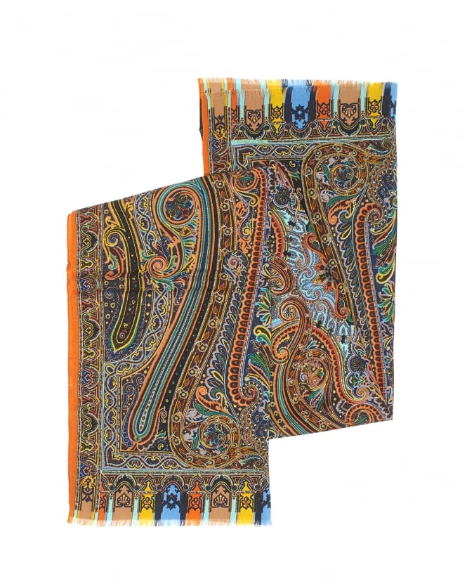 Etro Mens Multi Colour Paisley Silk Blend Scarf