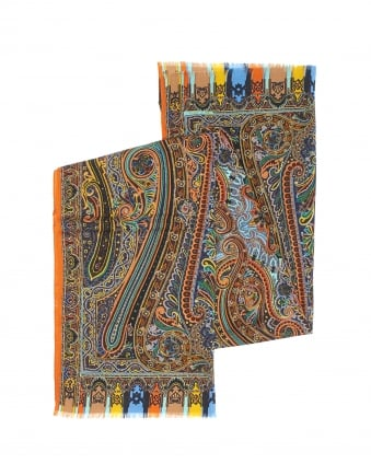Mens Multi Colour Paisley Silk Blend Scarf