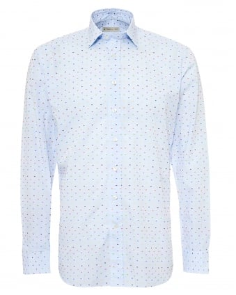 Mens Multi-Coloured Dot Print Shirt, Regular Fit Sky Blue Shirt