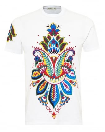 Mens Multi Paisley Print T-Shirt, Regular Fit White Tee
