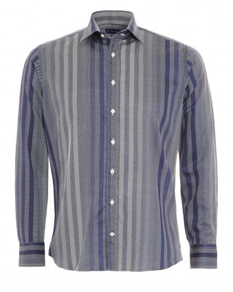 Mens Multi Stripe Shirt Navy