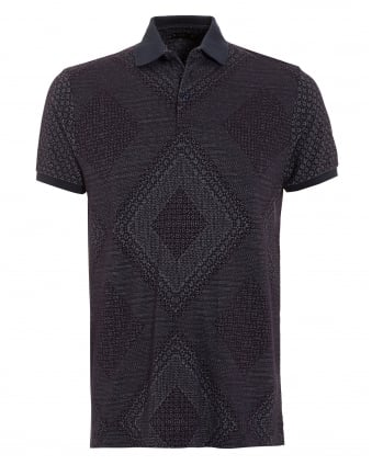 Mens Navy Blue Printed Polo Shirt