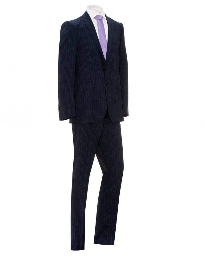 Etro Mens Navy Blue Striped Wool Suit