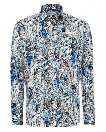 Mens New Tattoo & Multi Print Shirt, Regular Fit Blue Shirt