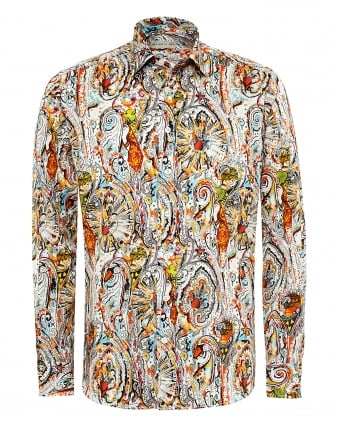 Mens New Tattoo & Multi Print Shirt, Regular Fit Multi Coloured Shirt