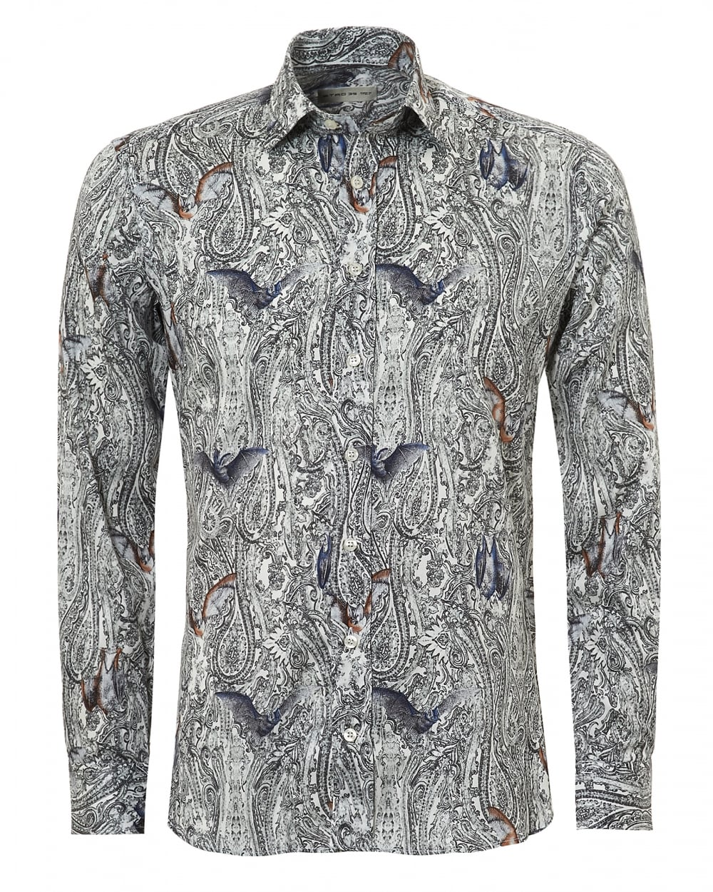 etro mens paisley and bats print regular fit black shirt