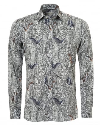 Mens Paisley and Bats Print Regular Fit Black Shirt