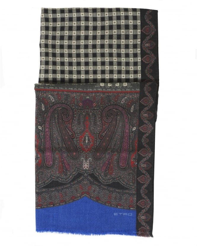 Etro Mens Paisley And Checked Print Black Scarf