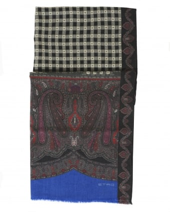 Mens Paisley And Checked Print Black Scarf