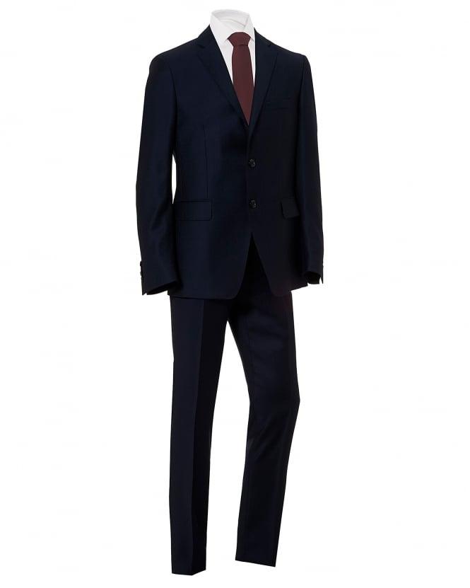 Etro Mens Paisley Bat Lined Regular Fit Navy Blue Suit