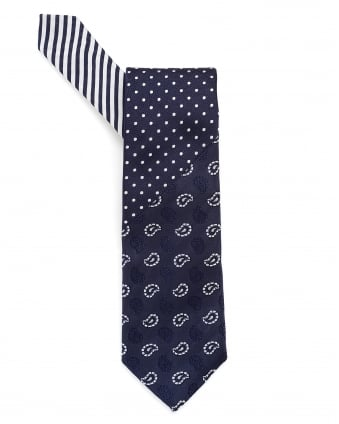 Mens Paisley, Dots & Stripes Print Navy Blue Tie
