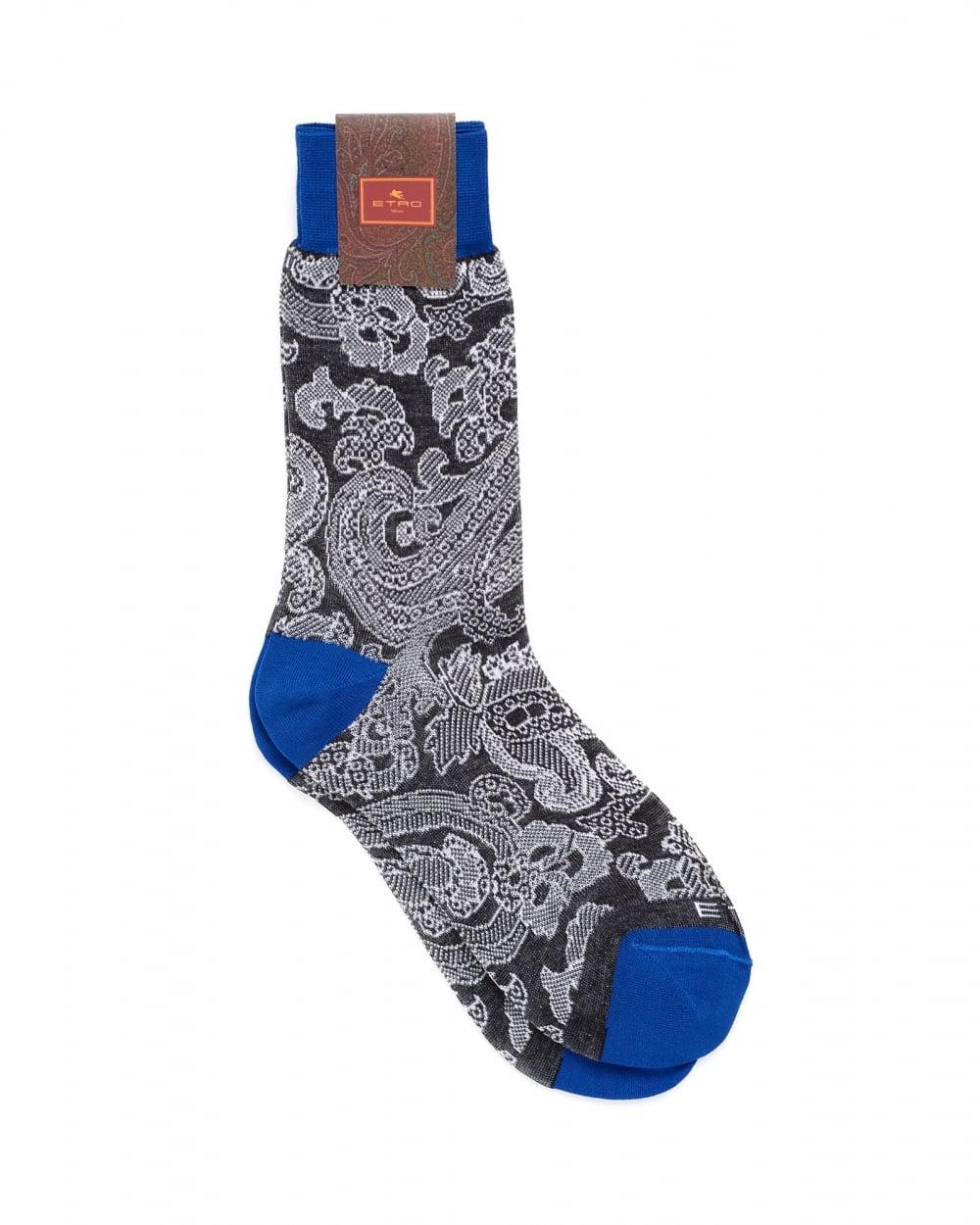 Etro Mens Paisley Print Contrast Cuff Black Socks