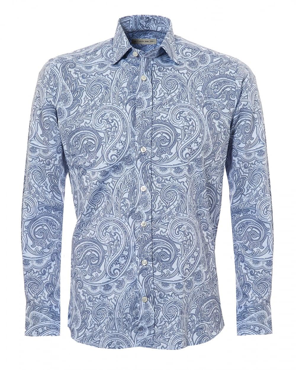 Etro mens mens paisley print regular fit navy sky blue shirt for Etro men s shirts