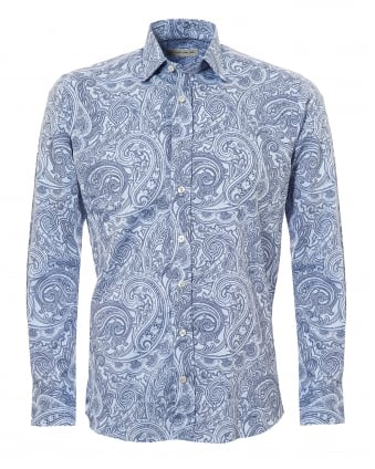 Mens Paisley Print Regular Fit Navy Sky Blue Shirt