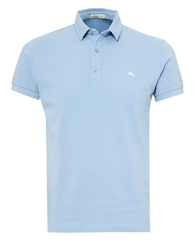 Etro Mens Paisley Print Undercollar Polo Shirt, Regular Fit Sky Blue Polo