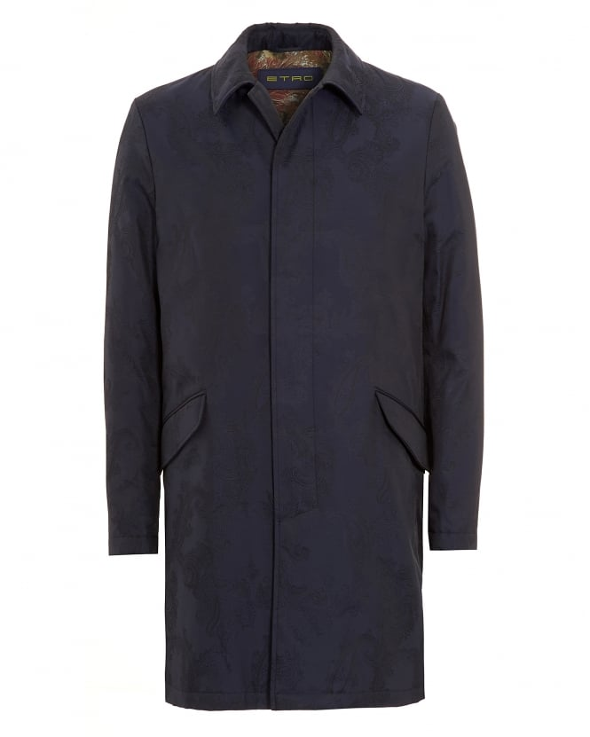 Etro Mens Paisley Raincoat Blue