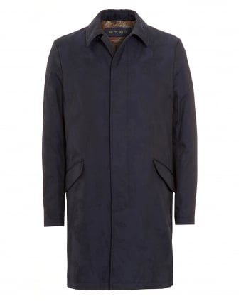 Mens Paisley Raincoat Blue