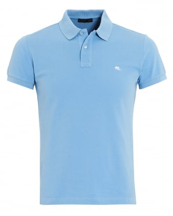 Mens Plain Body Polo Shirt, Slim Fit Sky Polo