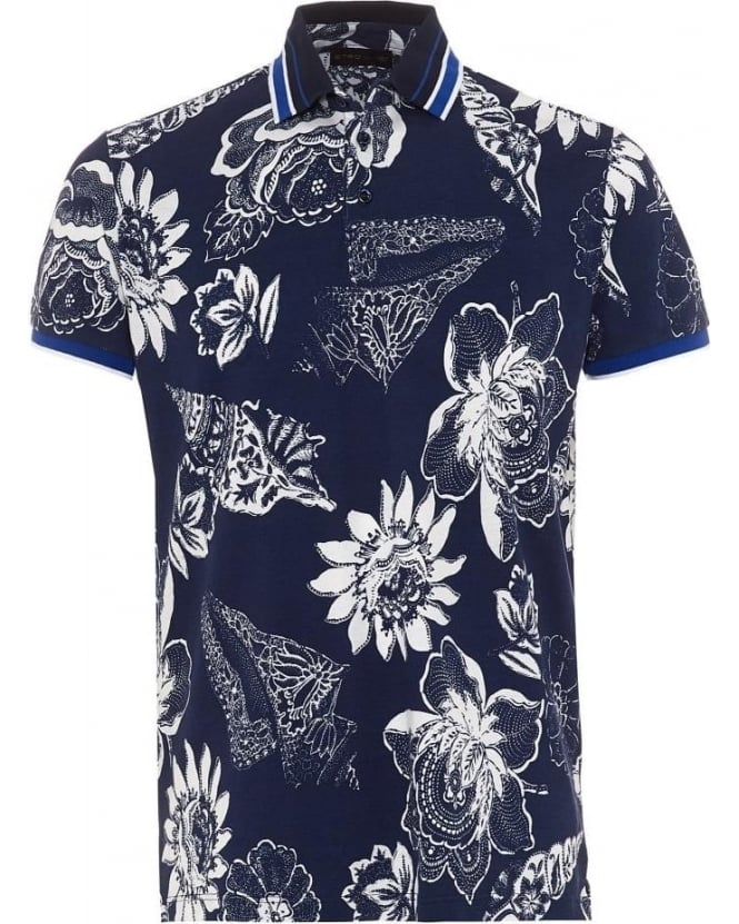 Etro Mens Polo Shirt Large Floral Print Navy Blue Polo