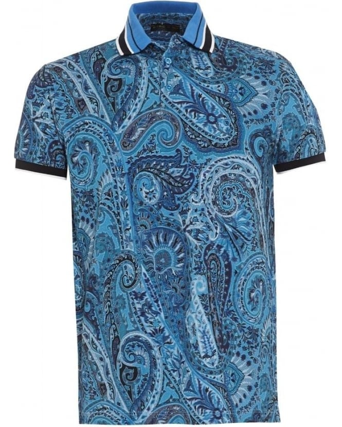 Etro Mens Polo Shirt Paisley Tipped Blue Polo