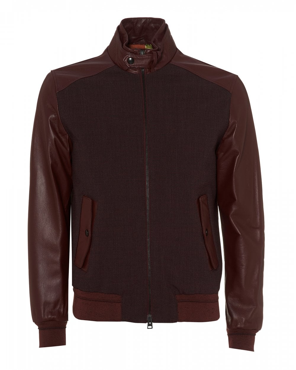 12d582b36 Etro Mens Post Stamp Lined Bomber, Leather Brick Red Jacket